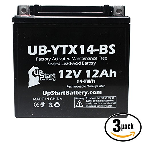 3-Pack Replacement 2009 Honda MUV700 Big Red 700 CC Factory Activated Maintenance Free Utility Vehicle Battery - 12V 12AH UB-YTX14-BS