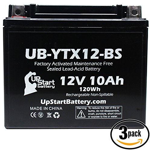 3-Pack Replacement 2010 Polaris Ranger RZR 170 CC Factory Activated Maintenance Free Utility Vehicle Battery - 12V 10Ah UB-YTX12-BS