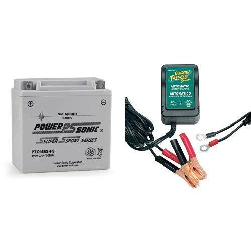 Power-Sonic PTX14BS-FS Sealed Maintenance Free Powersport Battery and Battery Tender 021-0123 Battery Tender Junior 12V Battery Charger Bundle
