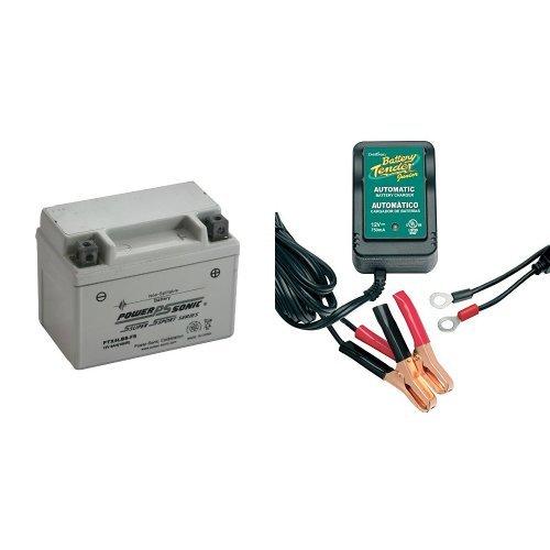 Power-Sonic PTX4LBS-FS Sealed Maintenance Free Powersport Battery and Battery Tender 021-0123 Battery Tender Junior 12V Battery Charger Bundle