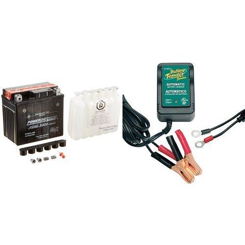 Power-Sonic PTX5L-BS Sealed Maintenance Free Powersport Battery and Battery Tender 021-0123 Battery Tender Junior 12V Battery Charger Bundle