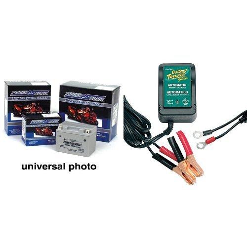 Power-Sonic PTX5LBS-FS Sealed Maintenance Free Powersport Battery and Battery Tender 021-0123 Battery Tender Junior 12V Battery Charger Bundle