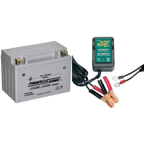 Power-Sonic PTZ12S Sealed Maintenance Free Powersport Battery and Battery Tender 021-0123 Battery Tender Junior 12V Battery Charger Bundle