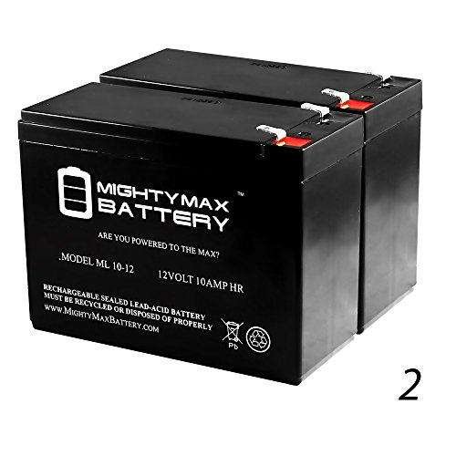 12V 10AH Scooter Battery Replaces Yuasa REC10-12 - 2 Pack - Mighty Max Battery brand product