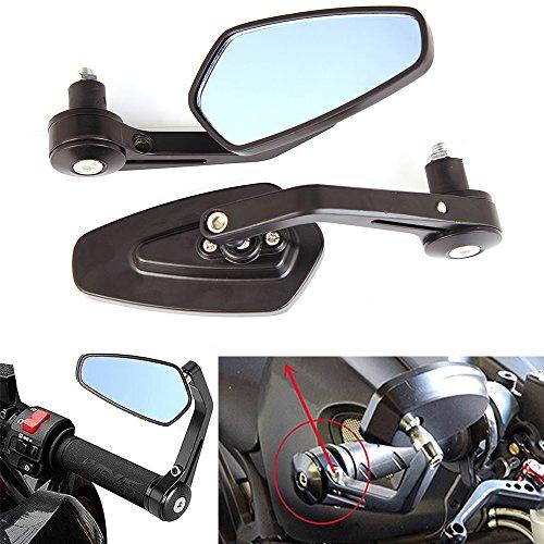 Universal Black Adjustable Motorcycle 78 Handle Bar End Rearview Side Mirrors Blue for Harley Honda Yamaha Suzuki Kawasaki