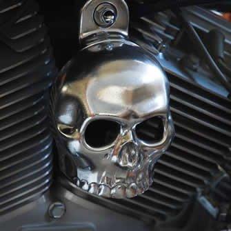Harley Polished Aluminum Skull Horn Cover