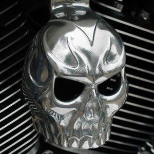 Harley Polshed Aluminum Evil Twin Skull Horn Cover