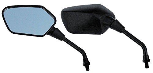 Hoosier Garage - Pair of OEM Quality Black Angular Head Motorcycle Mirrors - Honda Kawasaki Suzuki Victory