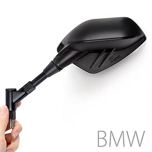 KiWAV Magazi Fin style black motorcycle mirrors 10mm 15 pitch adjustable for BMW universal e