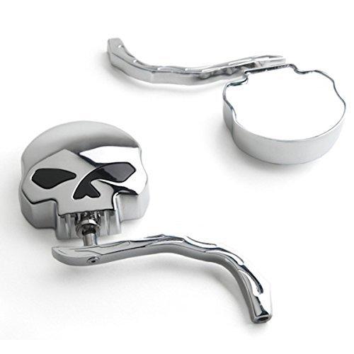 Krator Skull and Flames Universal Custom Chrome Motorcycle Mirrors - Free Adapters Mirrors Fits Most Harley Davidsons Suzuki Honda Kawasaki Cruisers