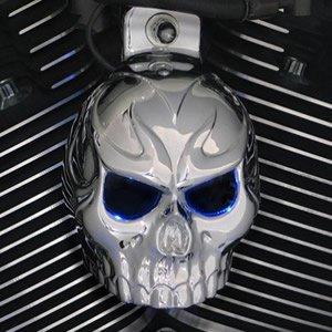 Harley Chrome Evil Twin Skull Horn Cover WBack Lit Blue LED Eyes