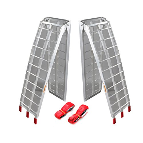 Pair 75 ft Folding Loading Ramp 1500 lb Heavy Duty Aluminum Plate ATV UTV Dirt Bike Truck Motorcycle Arcingle Arched Ramps