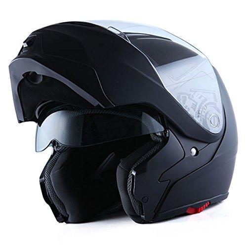 1Storm Motorcycle Street Bike ModularFlip up Dual VisorSun Shield Full Face Helmet MattBlack Large