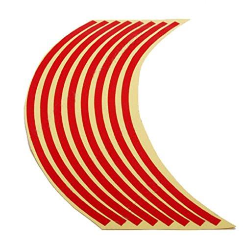 Wheel Rim Reflective Sticker - TOOGOOR 17inches Motorcycle Car Wheel Rim Reflective Metallic Stripe Tape Decal Sticker Red