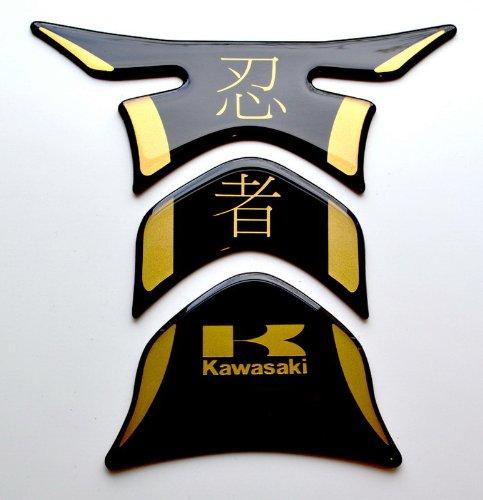 Kawasaki Ninja kanji Piano Black  matt Gold Motorcycle tank Protector pad Decal Sticker