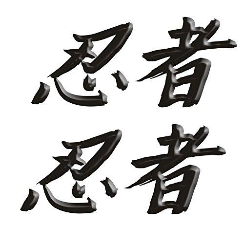 Size is 26 tall x 6 wide Kawasaki Ninja ZX10 ZX12 ZX14 ZX9 ZX6 600 1000 ZX6RR 250R 300 Ninja Kanji Decal sticker set Black