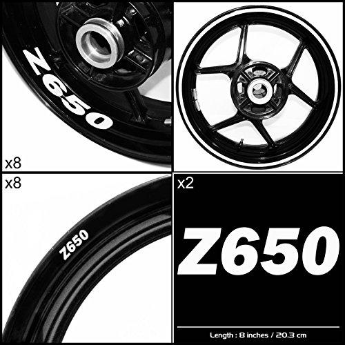 Stickman Vinyls Kawasaki Z650 Motorcycle Decal Sticker Package Gloss White Graphic Kit