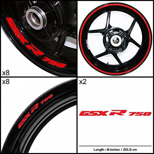 Stickman Vinyls Suzuki GSXR 750 Motorcycle Decal Sticker Package Reflective Red Graphic Kit