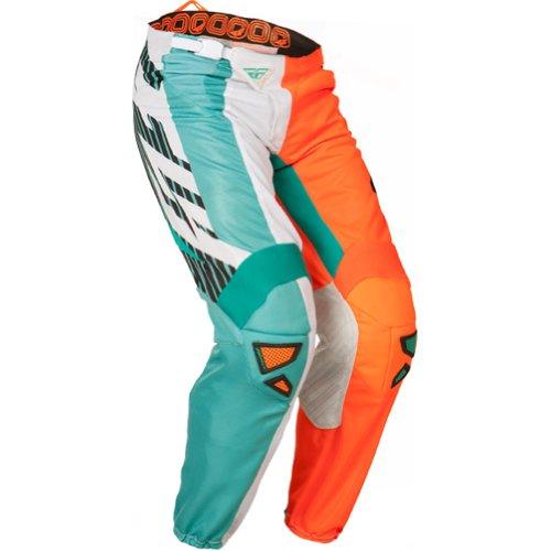 Fly Racing Kinetic Mesh Men's Off-road/dirt Bike Motorcycle Pants - Teal/hi-viz Orange / Size 32