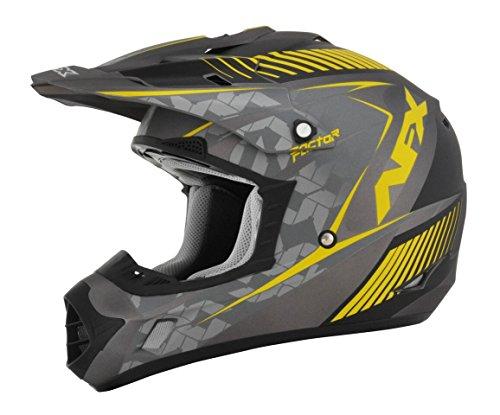 AFX FX-17 Factor Mens Motocross Helmets - GrayYellow - Small
