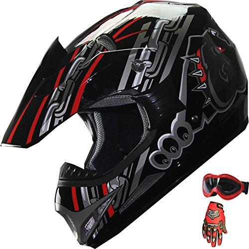 ATV Motocross Dirt Bike Motorcycle Helmet RedBlackglovesgoggles A28 SM