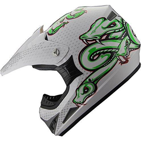ATV Motocross Helmet Off Road Dirt Bike Motorcycle Helmet A44 WhiteGreen L