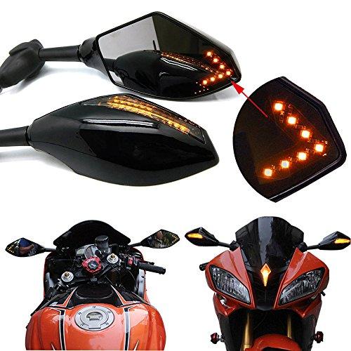 Pair of Motorcycle Led Turn Signal Integrated Indicator Rearview Mirrors for Racing Bike Sport Bike Smooth BlackSmoke Lens