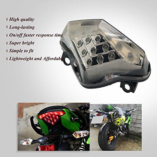 Powergrid Integrated Motorcycle LED Turn Signals Lamp Rear Brake Stop Taillight with Smoke Lens for 2012-2016 Kawasaki Ninja 650 650R ER6N ER6F