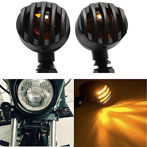 1 Pair Amber Motorcycle Black Bullet Front Rear Turn Signal Blinker Indicator Light Yellow Lens