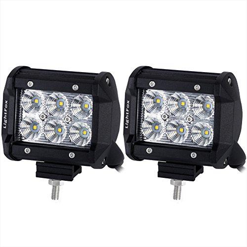 Lightfox 2Pcs 4Inch 18W Flood Cree LED Light Bar Offroad Pods Lights 4wd LED Driving Lamp Work Light Bulb Fog Lights for Truck Pickup Jeep SUV ATV UTV Waterproof 2 Years Warranty