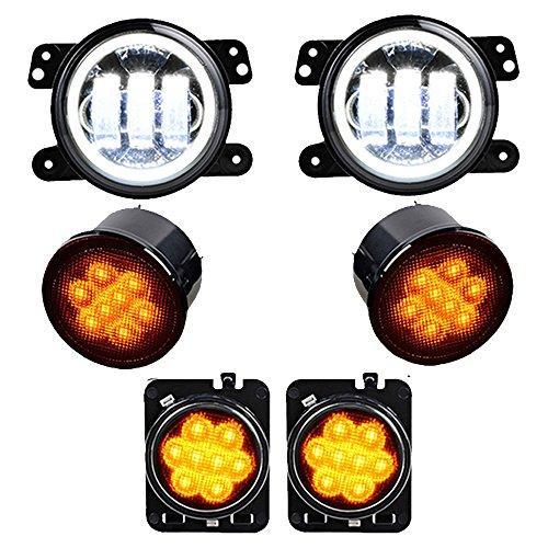 Combo for 2007-2017 Jeep Wrangler JK JKU Amber LED Front Turn Signal Light  Fender Side Marker Parking Lamp  4 CREE LED Fog Lamps w Halo Angle Eyes Lights
