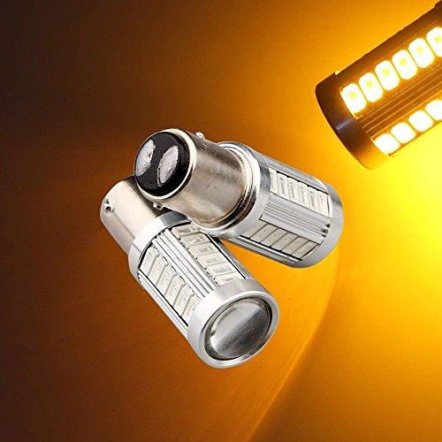 Ronben 2PCS 1157 8W High Power 33SMD 5730 LED Front Turn Signal Light Bulbs Lamp Amber