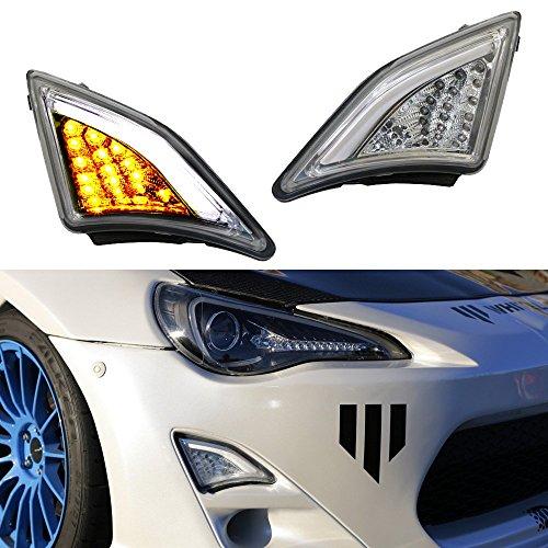 iJDMTOY 2 JDM Clear Lens Full LED Front Turn Signal Lights  3D LED Parking For 2013-2016 Scion FR-S