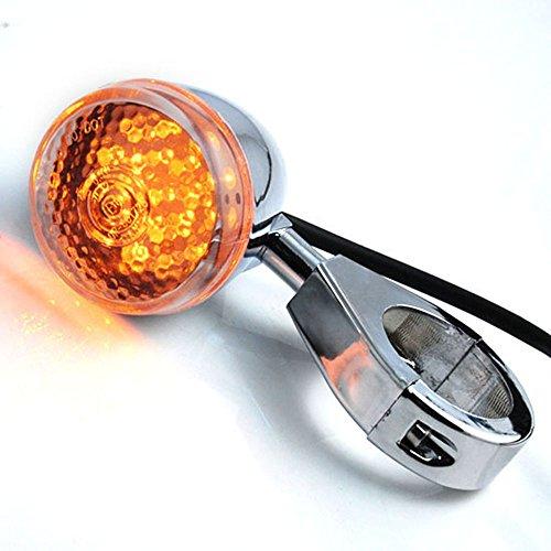 1 Pair JDM Style 20 Amber LED Chrome Plated Amber Turn Signal Light Blinker Indicator Side Marker For Motorcycle Cruiser Bobber Chopper Touring Snake Bike