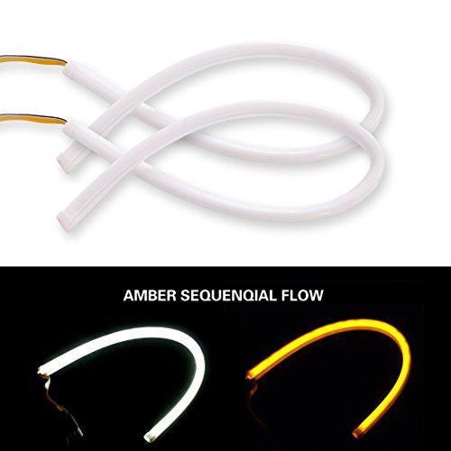2pc 24 Amber Sequential Switchback LED Strip Light tube Kit DRL Turnsignal White Daytiem Running Light for Headlights Retrofit