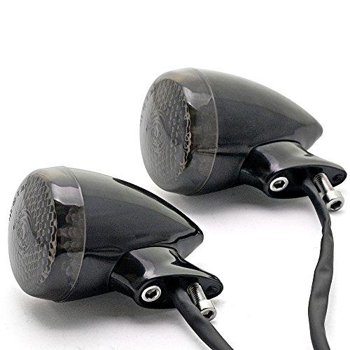 Astra Depot 2pcs Custom 20 Smoke LED Black Amber Turn Signal Light Rear Mount For Harley Davidson Cruiser Chopper Touring