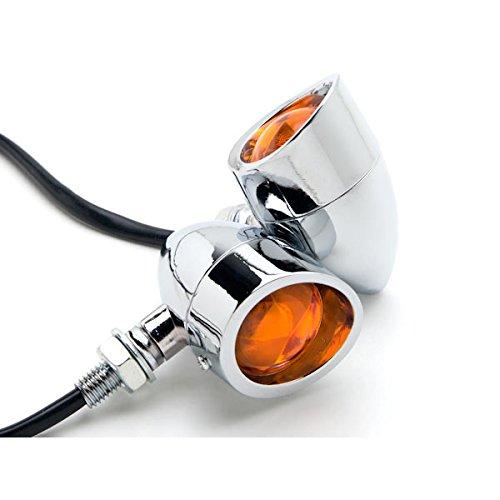 Krator Motorcycle 2 pcs Chrome Amber Turn Signals Lights For Kawasaki VN Vulcan Classic Drifter 800