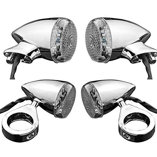 Set 4pcs 20-LED Chrome Plated Amber Turn Signal Light Blinker Indicator Side Marker Front Rear Mount Cruiser Chopper Touring