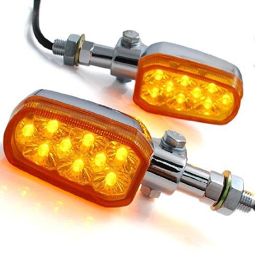 2x Custom Motorcycle Chrome Plated Amber Lens Billet Stalk 9 Amber LED Turn Signal Light Blinker Indicator Side Marker 10mm For Sport Racing Standard Naked Bike Cruiser Chopper Touring