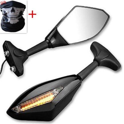 BADASS SHARKS Motorcycle Amber LED Turn Signal Light Blinker Indicator Side Marker Integrated Black Racing Side Rear View Mirror