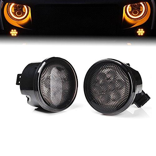 Xprite Jeep Wrangler JK JKU 07-17 Front Grille Smoke Lens Amber Led Turn Signal Lights Parking Lights
