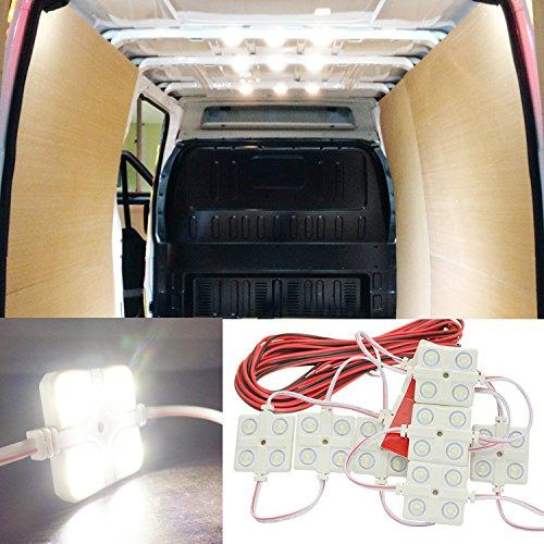 12V 40 LEDs Van Interior Light Kits Ampper LED Ceiling Lights Kit for Van Boats Caravans Trailers Lorries Sprinter Ducato Transit VW LWB 10 Modules White