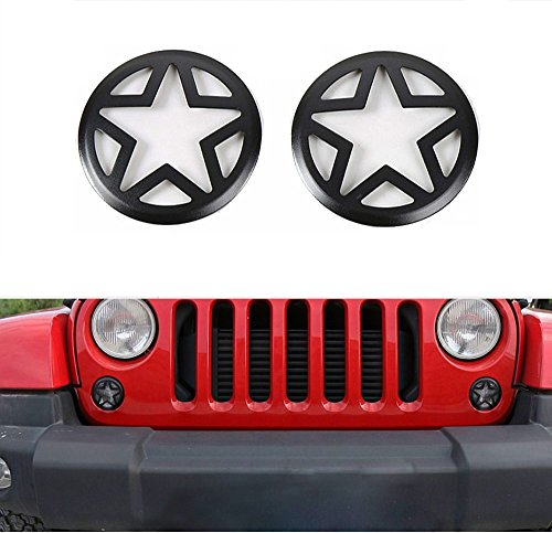 Opar 2007-2018 Jeep Wrangler Front Turn Signal Light Cover for JK Wrangler Unlimited - Pair Five Star