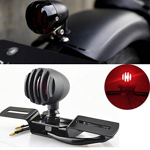 KATUR 1Pcs 12V 10W Motorcycle Tail Light Stop Licenses Brake Lamp For Chopper Bobber Cafe RacerBullet Steel Housing Motos Light For Harley