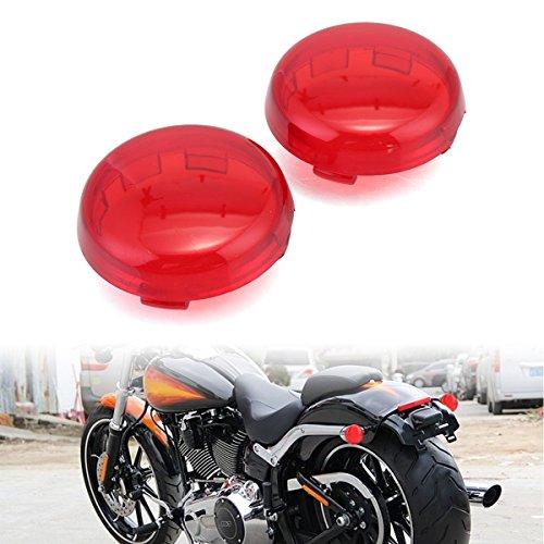 Motorcycle Turn Signal Light Lens Lenses Cover For Harley Sportster 883 1200 XL 48 72 Fatboy Dyna V-ROD Breakout Softail FLSTFLSTC Pack 2 Red