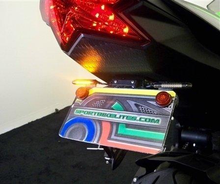 Kawasaki Ninja ZX6R STD LED Fender Eliminator Kit - Red Turn Signals Clear Lens