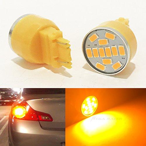2 Pcs 3157 Amber-Yellow LED 19 Chip P277W W25x16Q WU25q T25 Rear Turn Signal Light Bulb Replace 3057 3156 3357 4157