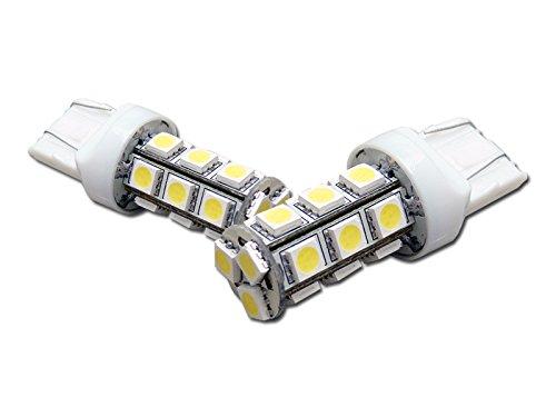 2pc 7443 T20 18x 5050 3-Chip SMD LED White Rear Turn Signal Light Bulb DC 12V