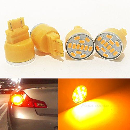 4 Pcs 3157 Amber-Yellow LED 19 Chip P277W W25x16Q WU25q T25 Rear Turn Signal Light Bulb Replace 3057 3156 3357 4157