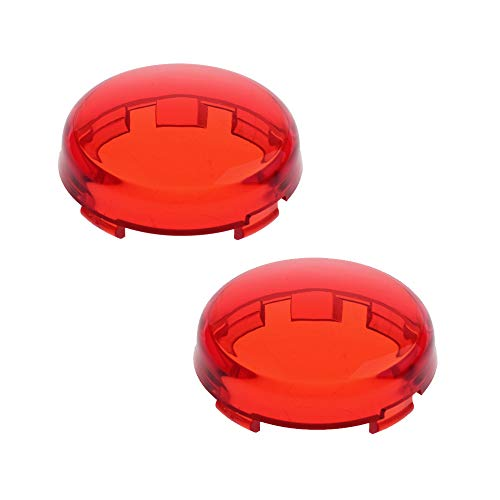 NTHREEAUTO Bullet Rear Turn Signal Light Lens Red Cover Compatible with Harley Dyna Street Glide Road King